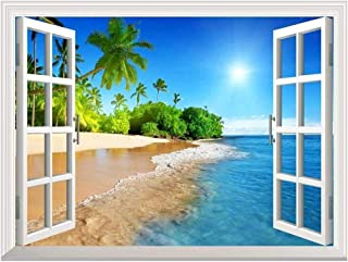 White Beach with Blue Sea and Palm Tree Open Window Mural Wall Sticker - 24