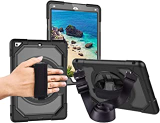 """Miesherk iPad 6th/5th Generation Case, Three Layer Hybrid Drop Protection Case with [360 Rotating Stand] Hand Strap &[Stylus Pencil Holder] Shoulder Strap for New iPad 5th/6th 2018/2017 9.7"""""""