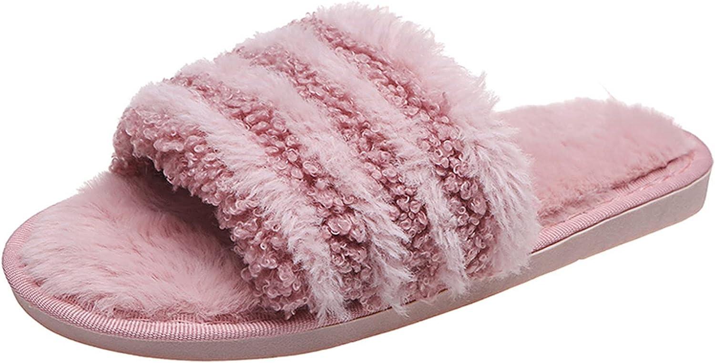 Fashion Womens Round Toe Flat Color Matching Plush House Slipper