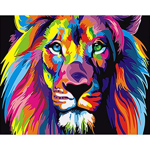 XQRDC Pintura por Número Kits 40X50CM,Lienzo de Bricolaje Regalo de Pintura para Adultos Niños Pintura Decoración del Hogar - Color León(con Marco)