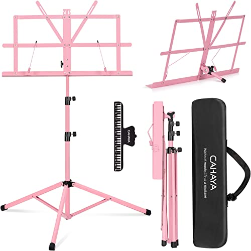 CAHAYA Sheet Music Stand Folding & Tabletop Music Stand Portable with Carrying Bag for Books Notes Laptop Tablet Pink