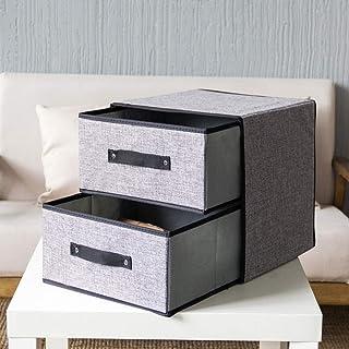 Boîte de rangement en tissu lavable type de tiroir, boîte de rangement en lin en coton @ Gris foncé_Mise à niveau pour aug...