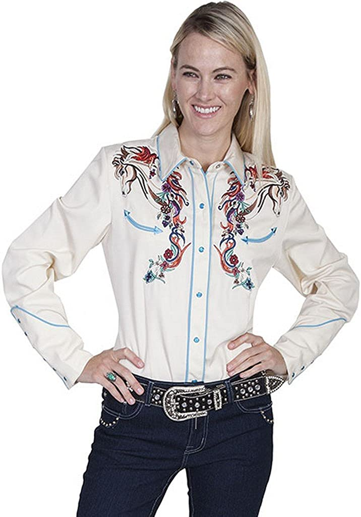 Scully Women's Colorful Horse Embroidered Long Sleeve Shirt - Pl-856C CRM