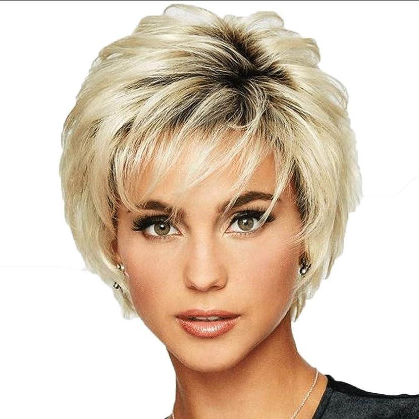 特権おとなしい履歴書女性のための耐熱性スタイリッシュな新しいブロンドの短いわずかなウェーブのかかった髪のかつら (色 : Blond)