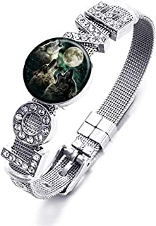 XuSuJuan Photo Custom Snap Rhinestone Crystal Love Bracelet DIY Glass Snap Noosa Ginger Charms (Wolf)
