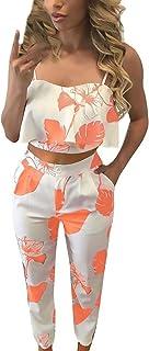 Donna Crop Top Tumblr E Lunga Pantaloni Due Pezzi Set Giovane Abiti da Festa Estivi Eleganti Moda Puro Colore Senza Bretelle del Spalla di Parola Senza Ventre Tops Pants Twin-Set
