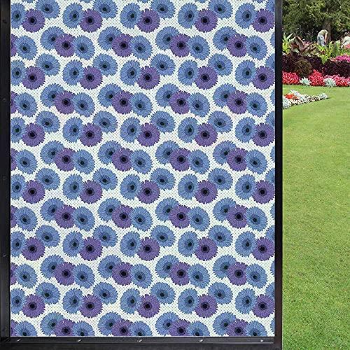 Película de privacidad para ventana de flores, para cuarto de baño, puerta corredera de habitación infantil, azul, violeta y azul marino 60 x 90 cm