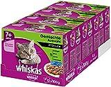 Whiskas 7 + Katzenfutter, Hochwertiges Nassfutter für gesundes Fell, Feuchtfutter in verschiedenen Geschmacksrichtungen, 4er Pack (4 x 12 x 100 g)