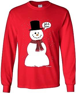 Let It Snow Long Sleeve T-Shirt Funny Snowman Christmas Xmas Tee