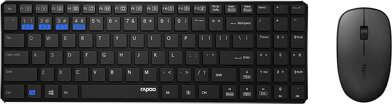 Rapoo 9300M   Combo Teclado + Ratón Inalámbrico Advanced, Conjunto Teclado y ratón Wireless, Color Negro