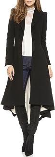 MISSOMO Women Asymmetrical High Low V Neck Ruffle Button Long Coat