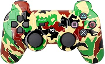 PS3 Controller Wireless Bluetooth Six Axis Dualshock Game Controller for Sony PlayStation 3 PS3 (Army Green Camouflage)