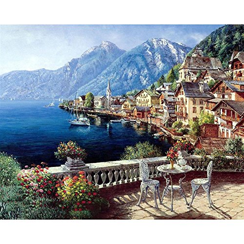 Katosca DIY Oil Painting Paint by Number for Adults Kids Beginner Harbour Small Town Acrylic Paint by Numbers Painting Kit Home Wall Living Room Bedroom Decoration 16x20 Inches Without Frame