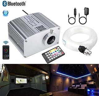 AZIMOM Bluetooth Control 10W Twinkle RGBW Fiber Optic Lights Star Ceiling Light Kit Sensor Music Mode APP Light Engine Remote for Indoor Car Interior Decoration 450pcs0.03in9.8ft Strands