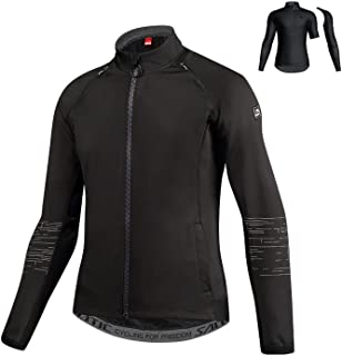 Men Cycling Jacket Removable Sleeves Bike Bicycle Jacket Autumn Winter Fleece Thermal Sport Bike Clothing