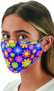 Snoozies Face Masks - 1 Cloth Face Mask - Washable Fabric Face Mask Reusable with Filter Pocket - Adjustable Ear Loops - Resealable Pouch - 4 Disposable Filters Included - Daisy