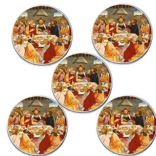Juego de Monedas de Recuerdo Decorativo de 5 Piezas 999,9 Adorno artístico de Monedas de Oro Chapado en Plata Jesús Challenge Metal Crafts-Style_6