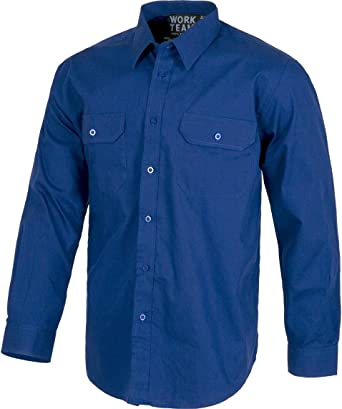 Camisa de Trabajo con Manga Larga y Bolsillos: Amazon.es: Ropa
