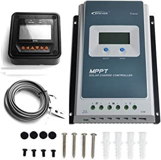 EPEVER MPPT Solar Charge Controller 40A MaxInput Voltage100V Negative Grounded Tracer 4210AN + Remote Meter MT-50 with Backlight LCD Display for Gel Sealed Flooded Lithium Solar Battery Charger