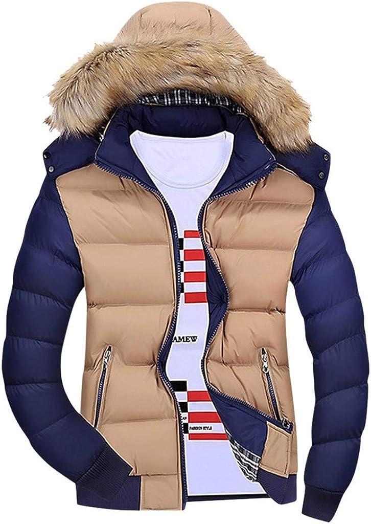 Stoota Mens Novelty Color Block Cozy Sport Outwear, Thermal Regular Padded Faux Fur Hoodies
