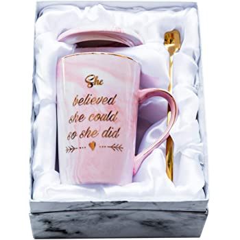 Mugpie She Believed She Could So She Did Coffee Mug - Congratulations Graduation Gifts for Her Women Girl Daughter College Nursing - Cute Motivational Inspiritional 12.5oz Pink Ceramic Cup + Gift Box