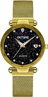 Lixada Bright Stars Ladies Heart-shape Watch with Calendar Star Dial Mesh Band Watches Black