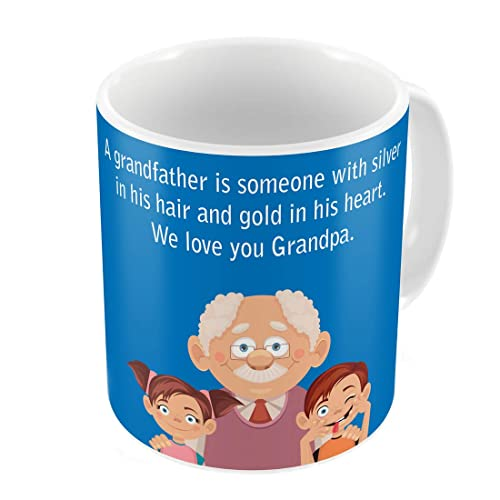 Indigifts Grandfather Birthday Gifts Love You Grandpa Quote Cute And Children Illustration Blue Coffee Mug