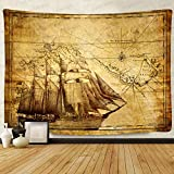 F-FUN SOUL Pirate Treasure Map Sailing Ship Drawing Tapestry, Large 80x60inches Soft Flannel, Old Ancient Pattern Wall Hanging Tapestries for Living Room Bedroom Decor DSFS1038