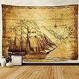 F-FUN SOUL Tapiz de dibujo de mapa del tesoro pirata, gran 203,2 x 152,4 cm, algodón suave, diseño antiguo de los tapices para colgar en la pared para sala de estar, recámara, decoración DSFS1038