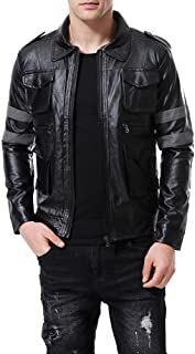 Men's Faux Leather Bomber Jacket Punk Moto Black Lapel Collar 4 Pockets Coat