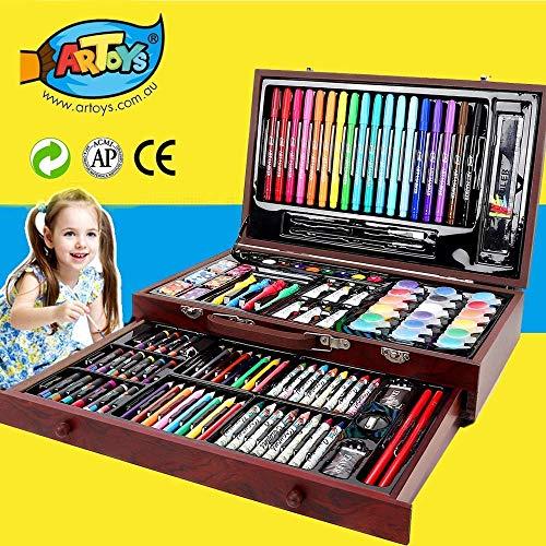 ARTOYS Art Set Kids 123 Piece Drawing Painting Set Artist KitCrayon SetWatercolor Paint SetColored PencilsMarker PensOil PastelsAcrylic PaintPortable Art Wood CaseGifts for Kids Teens Adults
