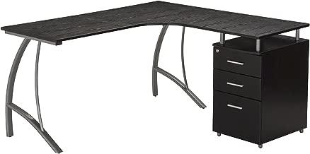 Techni Mobili L Shape Corner Desk with File Cabinet in Dark Espresso