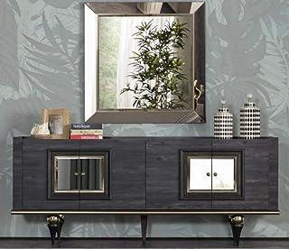 Casa Padrino aparador Art Decó Gris/Negro/latón 210 x 44 x A. 86 cm - Armario Noble con 4 Puertas - Muebles Art Deco