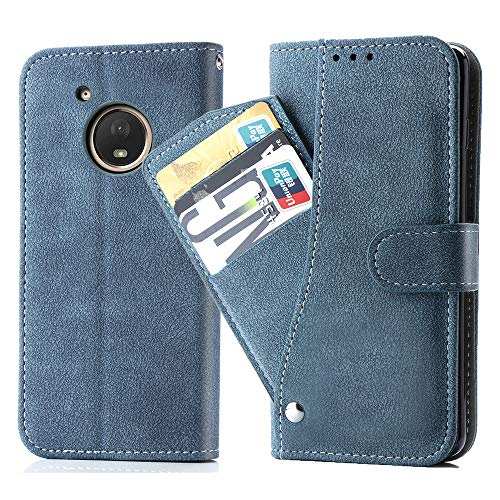 Asuwish Moto G5 Plus Wallet Case,Luxury Leather Phone Cases with Credit Card Holder Slim Kickstand Stand Rugged Flip Folio Protective Cover for Motorola Moto G5 Plus Women Girls Men Blue
