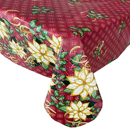 "Newbridge Poinsettia Plaid Double Border Print Flannel Back Vinyl Christmas Tablecloth - White Poinsettia and Gold Ribbon Xmas Wipe Clean Easy Care Tablecloth, 60"" x 102"" Oblong/Rectangle"