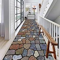 廊下敷きカーペット 3Dパッチワークエントランスランナーラグ - 様々なヴィンテージ不規則ストーンパターンフロアマット玄関マット非スリップ、カスタムサイズ (Color : C, Size : 60x300cm)