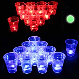 Six Senses Media The Dark Beer Pong Set,Beer Pong Party Cup Set, LED Beer Pong Cups and Glow-in-The-Dark Balls,22 Set
