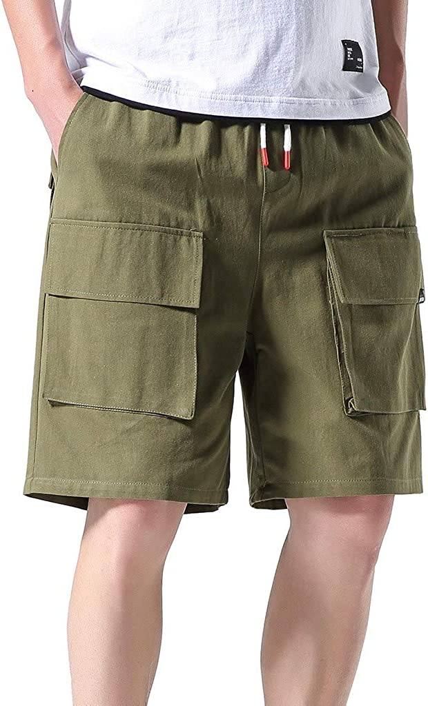 iCODOD Men's Casual Shorts Summer Outdoors Pocket Overalls Elastic Waist Work Trousers Beach Baggy Shorts Cargo Pant