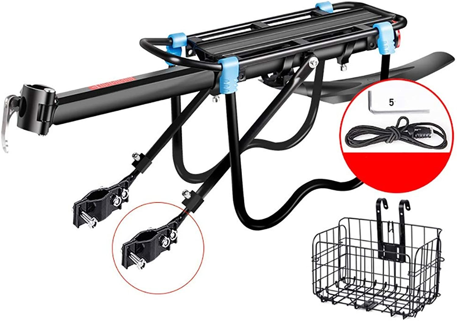 Bike Rack Rear Bike Rack Bicycle Cargo Rack Semi-Fast Release Adjustable Alloy Bicycle Carrier with Fender 165 Lb Capacity Easy to Install Black Bike Frames (Style   A)