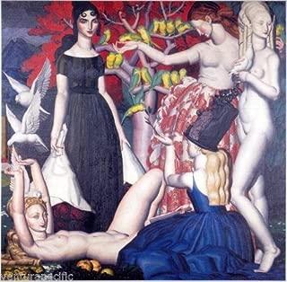 Les Perruches The Parakeets : Jean Dupas : Circa 1925 French Nudes Art Print