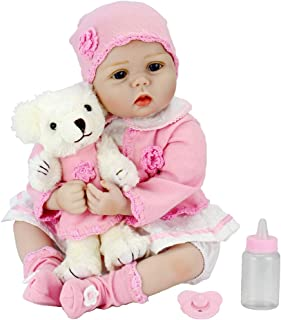 Aori Lifelike Reborn Baby Doll with Soft Body Realistic Toy Doll 22 Inch Teddy Gift Set for Girl Ages 3+