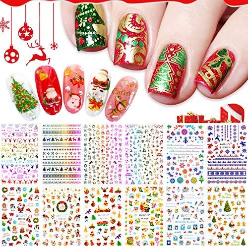 EBANKU 12 Fogli Adesivi Unghie Natale Natalizi Adesivi Unghie Fiocco di Neve Nail Stickers Natale Autodesivi per Unghie Natalizie Decorazioni Unghie Nail Art Fai da Te