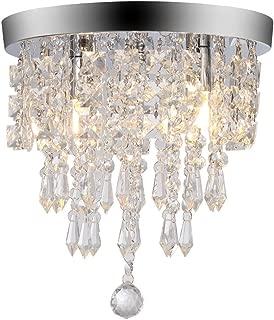 Ywoow Chandelier Crystal Chandelier Lighting 2 Lights Flush Mount Ceiling Light G9 US Warehouse Sending