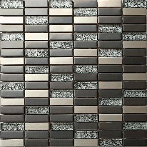 Glas und Edelstahl Mosaik Fliesen Matte in Schwarz und Silber 30cm x 30cm x 8mm Matten (MT0102)