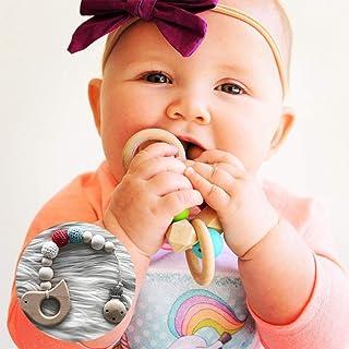 عضاضة أطفال خشبية طبيعية للأسنان – لعبة سيليكون الخرزة هدية استحمام الطفل