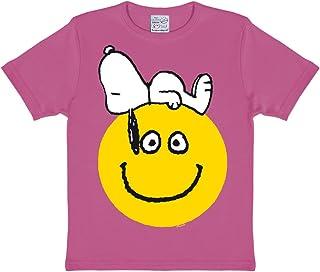 Logoshirt, Camiseta para niña Snoopy - Sonrisa, Peanuts - Beagle - Snoopy - Smile - Camiseta con Cuello Redondo Rosa - Diseño Original con Licencia