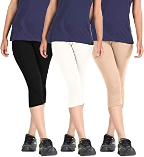 FABLAB Casual Capri for girls_Women_ladies_ Solid Color_Above Knee Length Capri (BlackWhiteBeige,FREE SIZE) Combo Pack Of 3.