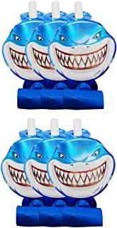 Party Fun 6 pcs Party Shark printed Blowout Whistle Funny Paper Party Blowers Noisemakers for Birthday Party