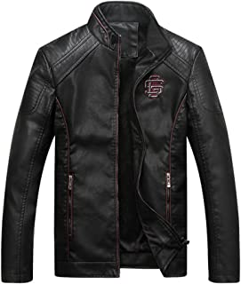 Men's Motorcycle Biker Casual Stand Collar PU Leather Jacket Black M