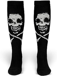 ROCKASOX, Fiend Brigade - Calcetines y blancos, diseño de calaveras y huesos hasta la rodilla, unisex